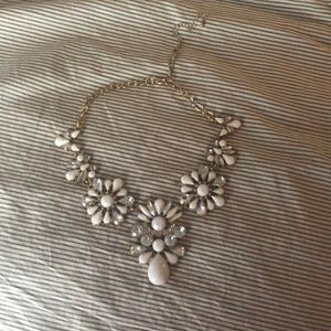 J. Crew white and gold statement necklace
